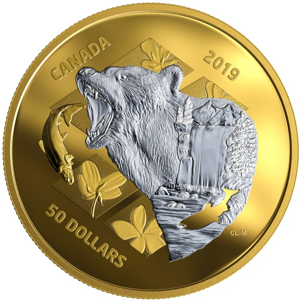 5 Ounce Silver Proof My Inner Nature: Grizzly Bear 50 CAD Canada 2019