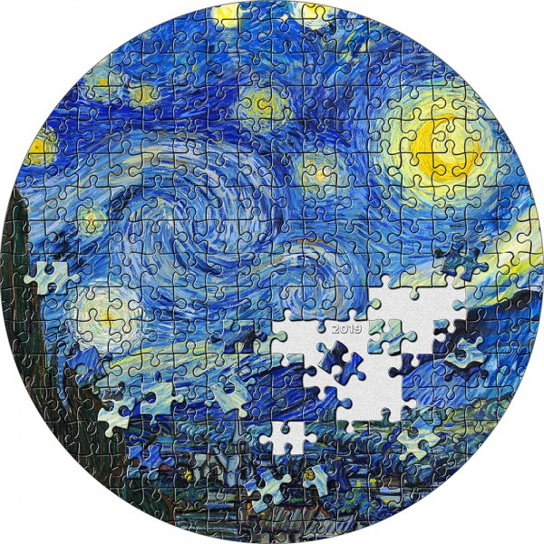 3 Ounce Silver Proof Starry Night Van Gogh Micropuzzle Treasures Passion 20$ Palau 2019