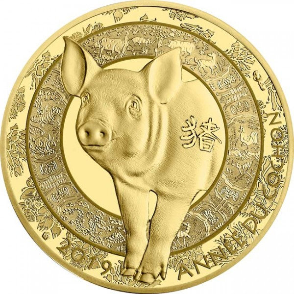 50 Euro 1/4 Unze Gold Proof Lunar Year of the Pig Schwein Frankreich 2019