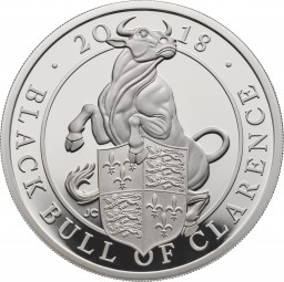 1 Oz Silber Proof Queens Beasts The Black Bull of Clarence 2 £ United Kingdom 2018