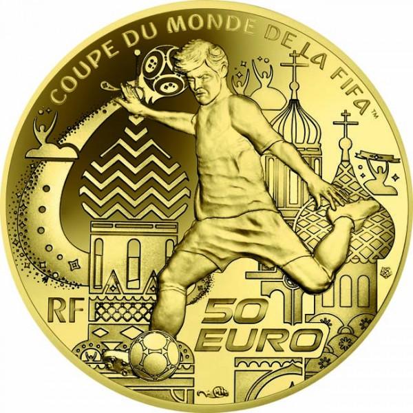 50 Euro 1/4 Unze Gold Proof FIFA World Cup Frankreich 2018