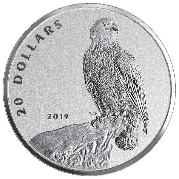 20 Dollar 1 Ounce Silver Reverse Proof The Valiant one: Bald Eagle Canada 2019