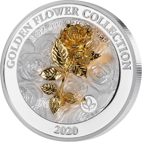 1 Ounce Silver Proof Golden Flower Collection - Rose 5 $ Samoa 2020