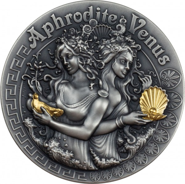 2 Oz Silber Antique Finish High Relief Strong and Beautiful Goddesses Aphrodite & Venus 5$ Niue 2020
