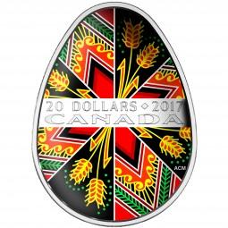 20 Dollar Silber Proof Traditional Pysanka Egg shaped Kanada 2017 Canada