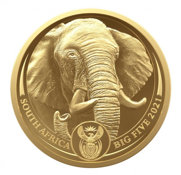 Elephant Big Five II 1/4 Ounce Gold Proof 25 Rand South Africa 2021