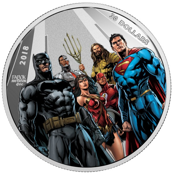 2 Ounce Silver Proof Justice League - The World's Greatest Superheroes 30 CAD Canada 2018