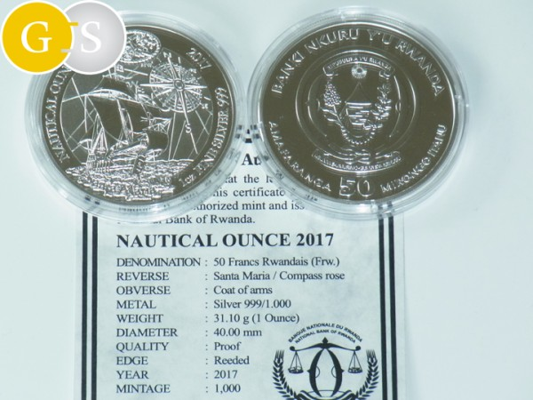 1 Unze Silber PP Proof Nautical Ounce Santa Maria Ruanda 2017 Silver Rwanda