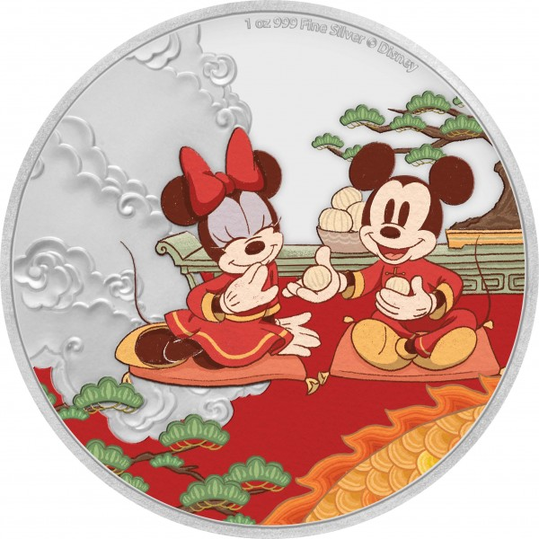 1 Ounce Silver Disney Mickey & Minnie Mouse - Good Fortune - Year of the Mouse 2$ Niue 2020