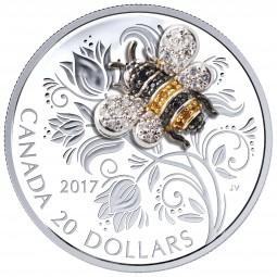 1 Oz Silber Proof Bejeweled Bugs: Bee - Biene 20 CAD Kanada 2017 Canada