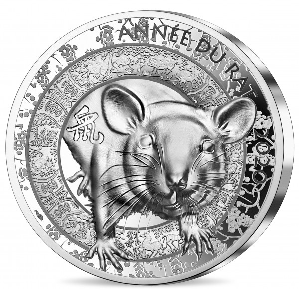 20 Euro 1 Unze Silber Proof High Relief Lunar Year of the Rat / Ratte Maus Frankreich 2020