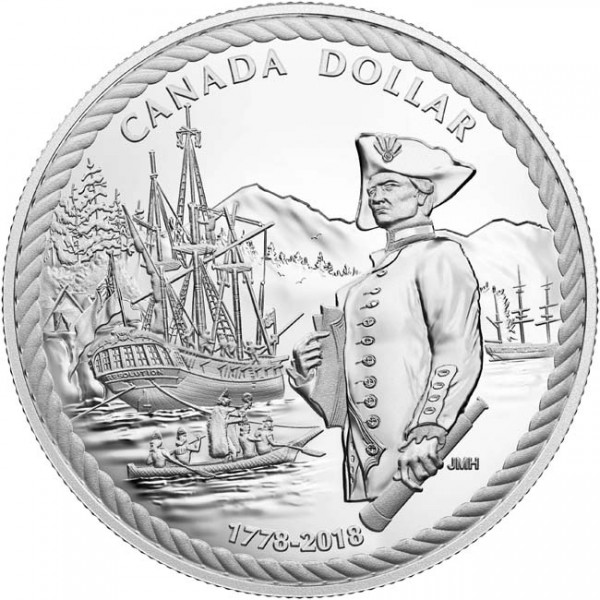 1 Dollar Silver Proof 240th anniversary of Captain Cook at Nootka Sound Canada 2018