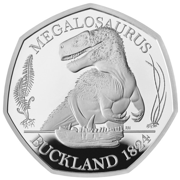 50 Pence Silver Proof Megalosaurus - The Dinosauria UK 2020 Royal Mint