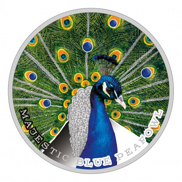 1 Unze Silber Proof Majestic Blue Peafowl 2$ Niue 2018