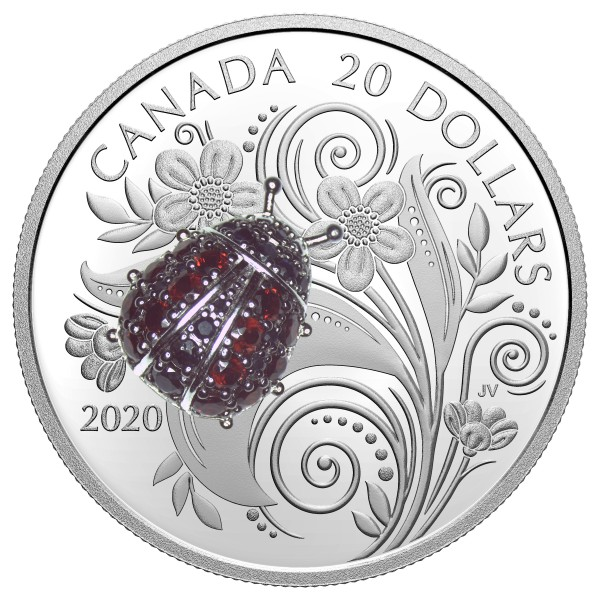 1 Ounce Silver Proof Ladybug - Bejeweled Bugs 20 CAD Canada 2020