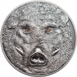 1 Unze Silber Antique Finish Wild Boar - Sus scrofa - Wildschwein Wildlife Protection Mongolei 2018