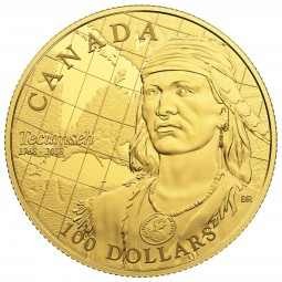 100 Dollar Gold Proof 250th Anniversary of the Birth of Tecumseh Kanada 2018