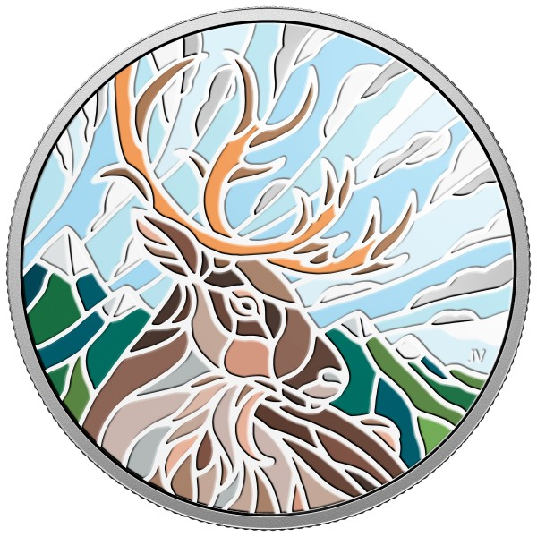 20 Dollar 1 Ounce Silver Proof Canadian Mosaics - Caribou Canada 2018