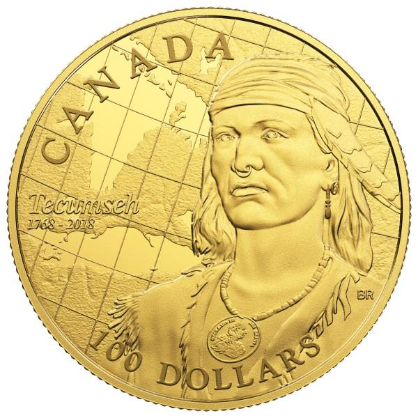 100 Dollar Gold Proof 250th Anniversary of the Birth of Tecumseh Kanada 2018