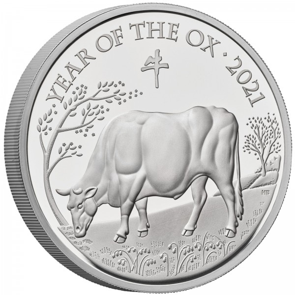 1 Ounce Silver Proof Lunar Year of the Ox 2 £ United Kingdom 2021