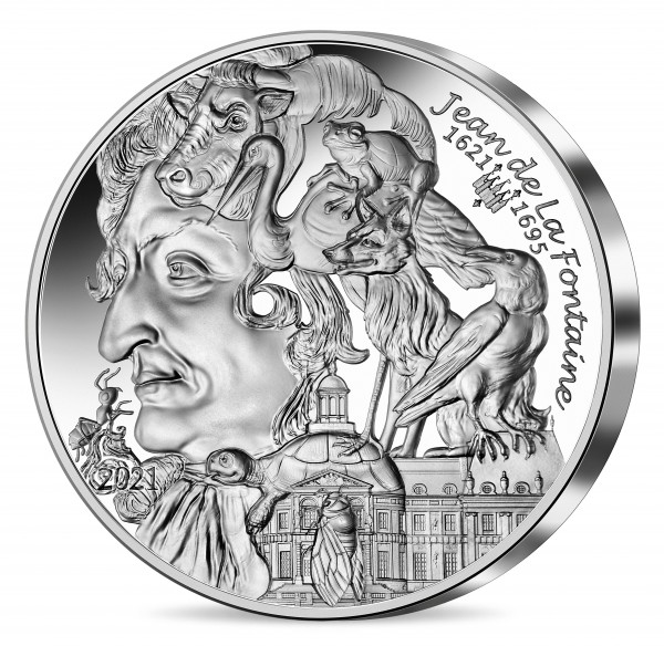 Jean de la Fontaine - Kunst des Schreibens - 20 Euro Silber Proof Frankreich 2021