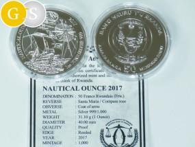 1 Unze Silber PP Proof Nautical Ounce Santa Maria Ruanda 2017 Silver Rwanda
