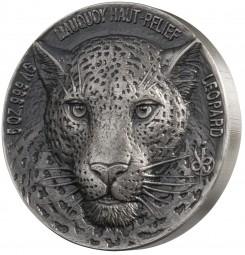 5 Unzen Silber High Relief Big Five Mauquoy Leopard 5000 Francs CFA Elfenbeinküste 2018