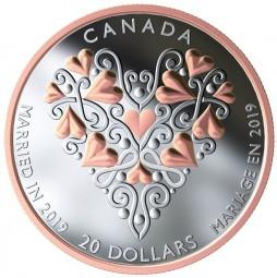 20 Dollar 1 Oz Silber Proof Best wishes on your wedding day Kanada 2019