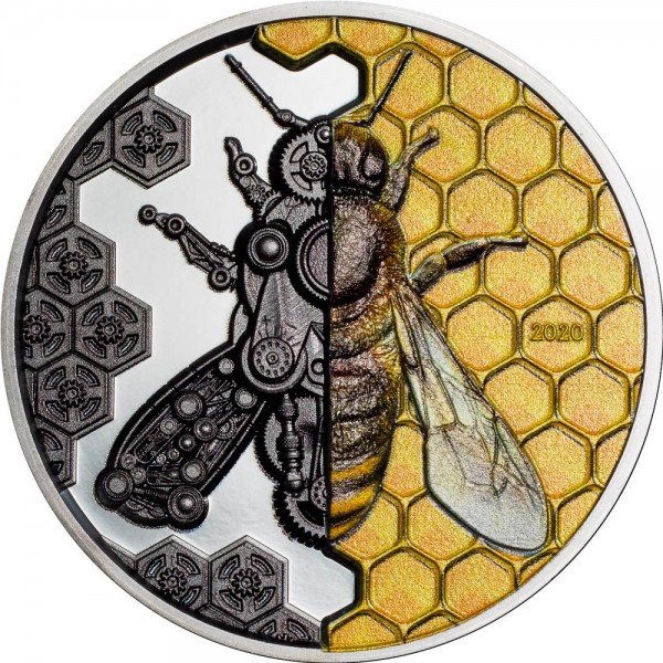 3 Ounce Silver Black Proof Clockwork Evolution - Mechanical Bee Mongolia 2020