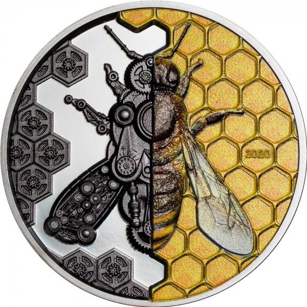 3 Unzen Silber Black Proof Clockwork Evolution - Mechanical Bee Mongolei 2020