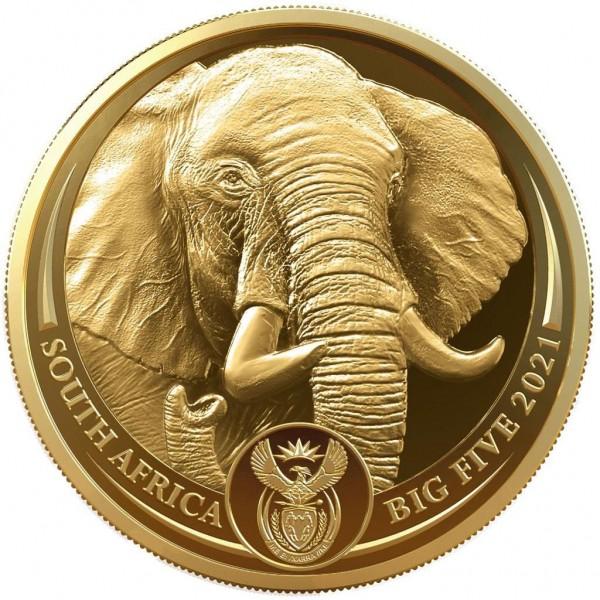Elefant Big Five II 1 Ounce Gold Proof 50 Rand South Africa 2021