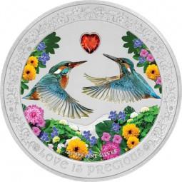 1 Oz Silber Proof Love is precious - Kingfisher / Eisvögel 2 $ Niue Islands 2018