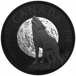 20 Dollar Silber Matte Proof Nocturnal: Howling / Heulender Wolf Kanada 2018 Canada