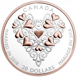 1 Oz Silber Proof Best wishes on your wedding day 20 CAD Kanada 2018