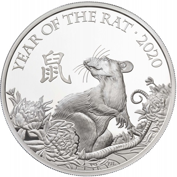 1 Ounce Silver Proof Lunar Year of the Rat 2 £ United Kingdom 2020