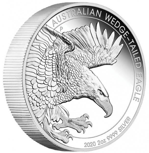 2 Ounce Silver Proof Piedfort Wedge Tailed Eagle 2 $ Australia 2020