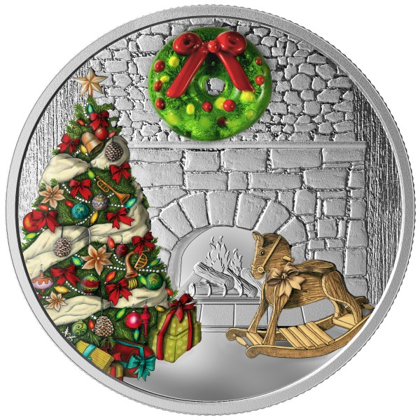 20 Dollar 1 Ounce Silver Proof Holiday Wreath Canada 2019