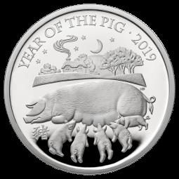 1 Oz Silber Proof Lunar Year of the Pig / Schwein 2 £ United Kingdom 2019