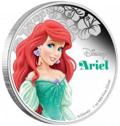 1 Unze Silber Proof Disney Arielle die Meerjungfrau Mermaid Ariel 2 $ Niue Islands 2015