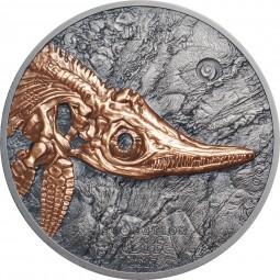 1 Unze Silber Antique Finish Ichthyosaur Evolution of Life Mongolei 2017