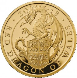 100 £ Pfund 1 Oz Gold Proof Queen´s Beasts Red Dragon of Wales Drache United Kingdom 2018