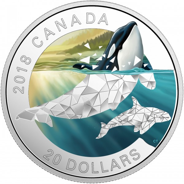 20 Dollar Silver Proof Geometric Fauna Series: Orcas Canada 2018