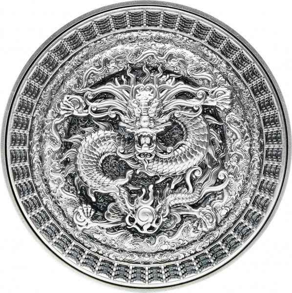 10 Ounce Bi-Metal Antique High Relief - The Forbidden Dragon Tchad 2021