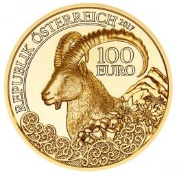 100 Euro Gold Proof 1/2 Unze Der Steinbock - Wildtiere Österreich 2017