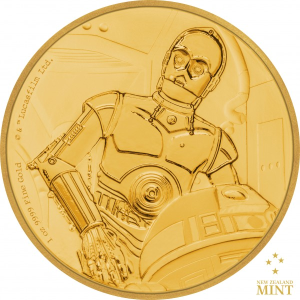 250 $ 1 Oz Gold Proof Star Wars Classic: C-3PO™ Niue 2017