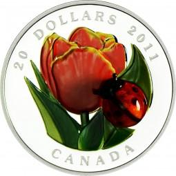 1 Oz Silber Proof Tulip with Glass Ladybug / Marienkäfer 20 CAD Kanada 2011