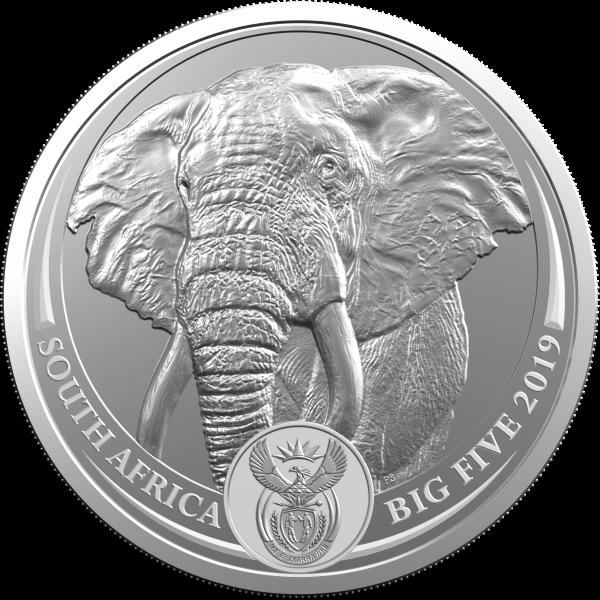 1 Unze Silber BU Big Five Elefant Blister Südafrika 2019
