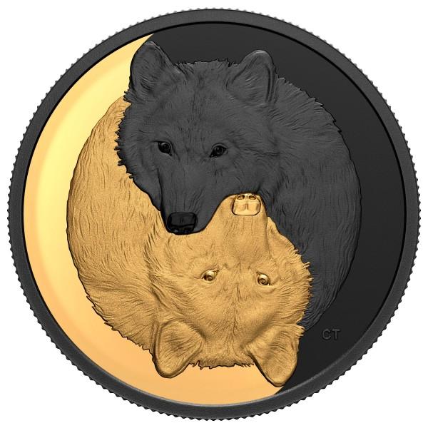 Der graue Wolf - Schwarz und Gold 1 Oz Silber Matte Proof 20 CAD Kanada 2021