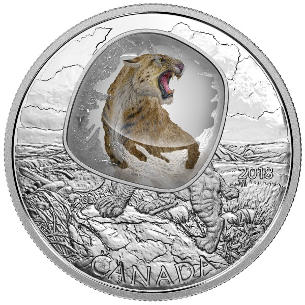 20 Dollar 1 Oz Silber Proof Frozen in ice - Scimitar Sabretooth Cat Kanada 2018 Canada