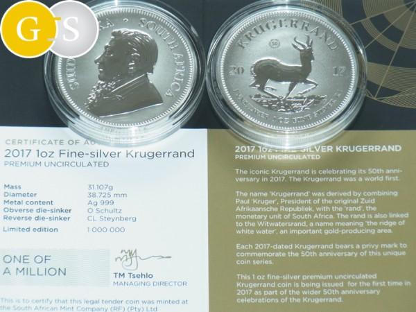 1 Oz Silber P.U. Krügerrand 50 Jahre Südafrika 2017 South Africa Silver Krugerrand